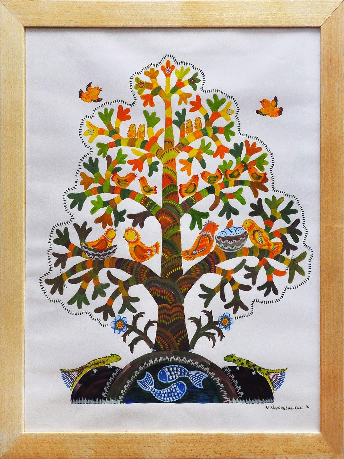 """Автор: Олена Добровольська """"Дерево життя"""". Петриківський розпис."""