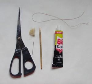 Материалы для изготовления кисти из кошачьей шерсти для петриковской росписи.