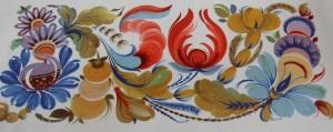 Т.Кудиш. Фриз триптиха «Юбилейный» 1967 г. Петриковская роспись.