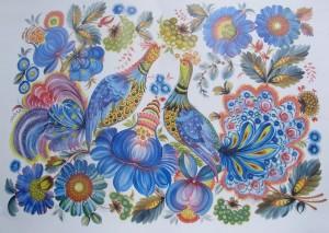 В. Тезик. Синие птицы. 1985 г. Петриковская роспись.