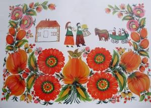А.Исаева. Свадьба. 1977г. Петриковская роспись.