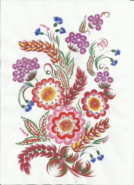 Композиция кисточкой из кошачьей шерсти. Петриковская роспись.