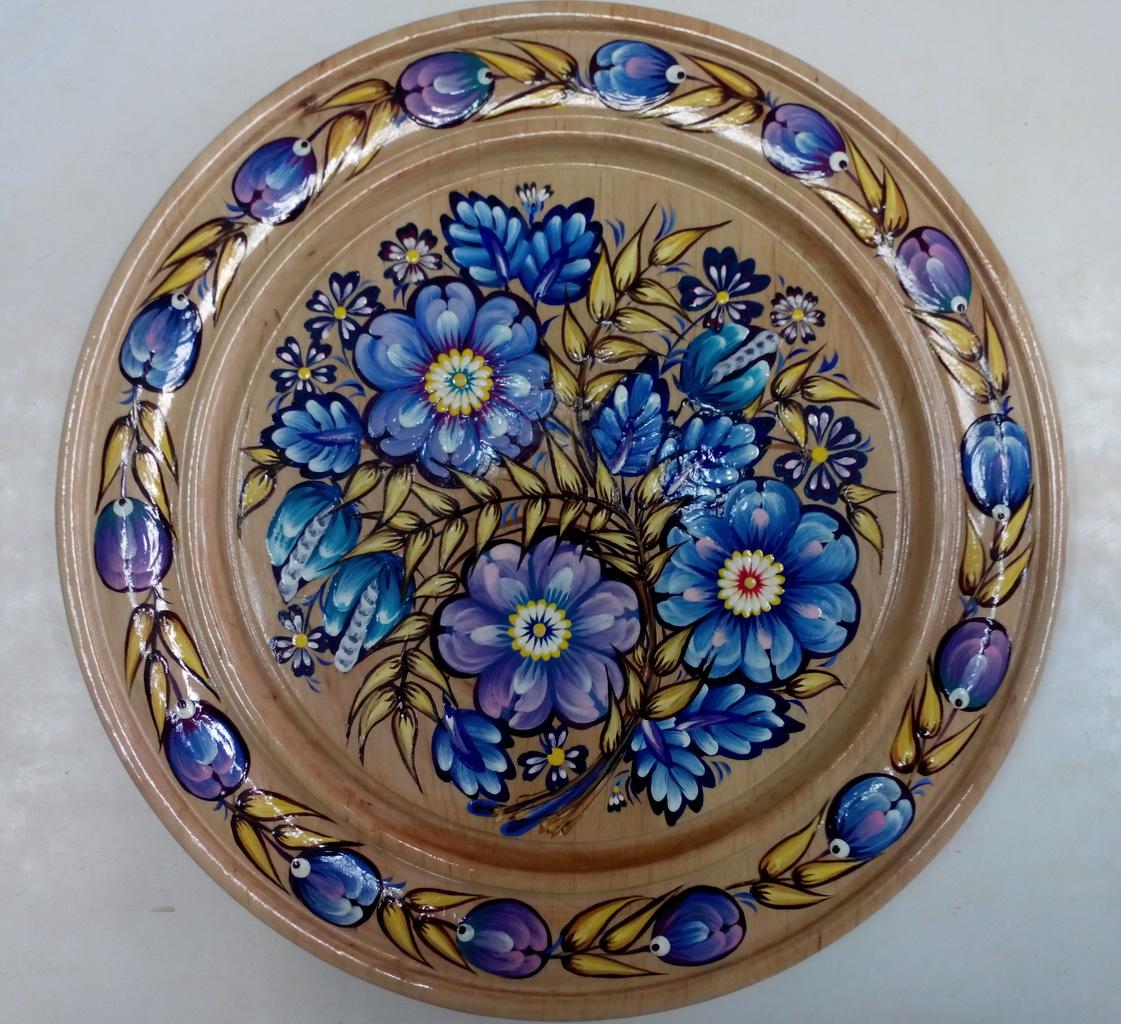 Алёна Борисова. Тарелка. Синие цветы. Петриковская роспись.